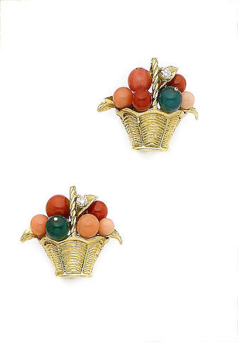 A pair of coral and gem-set giardinetto earclips, by Van Cleef & Arpels
