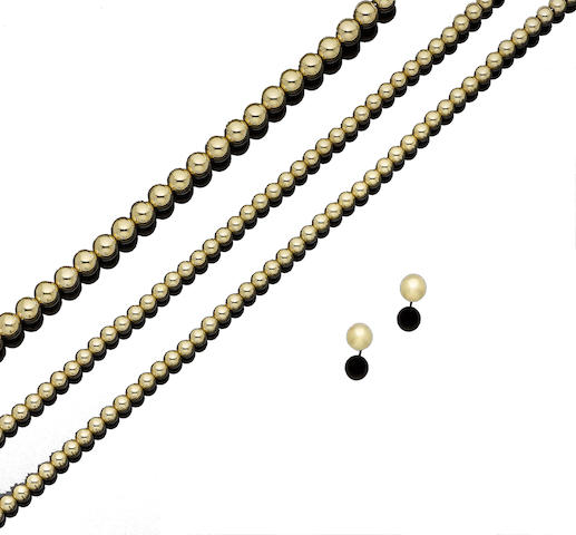 A gold 'Beads' suite, by Tiffany & Co. (3)