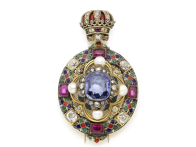 An enamel, pearl and gem-set Holbeinesque brooch,