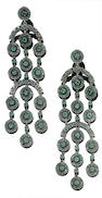 A pair of emerald pendent earrings