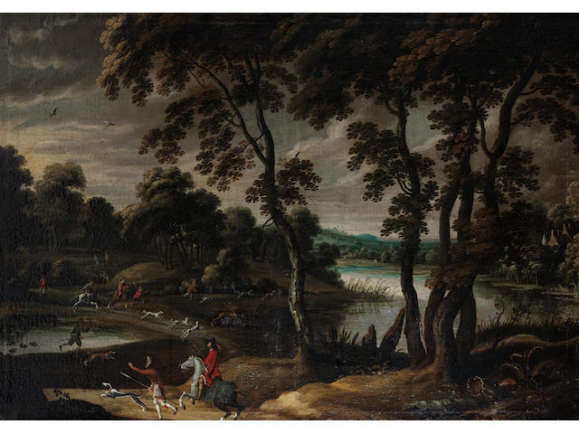 Workshop of Jan Wildens (Antwerp 1586-1653) A stag hunt in a wooded riverside landscape; and Figures preparing for the hunt, before an extensive river landscape  (2)