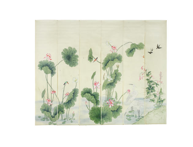 A pair of mid 20th century Chinese hand-painted on silk scenic wallpaper panel sets and a further Chinese hand-painted on silk wallpaper panel set