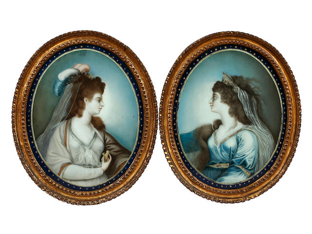 A pair of reverse portraits on glass of Sarah Siddens and Mrs Hartley (2)
