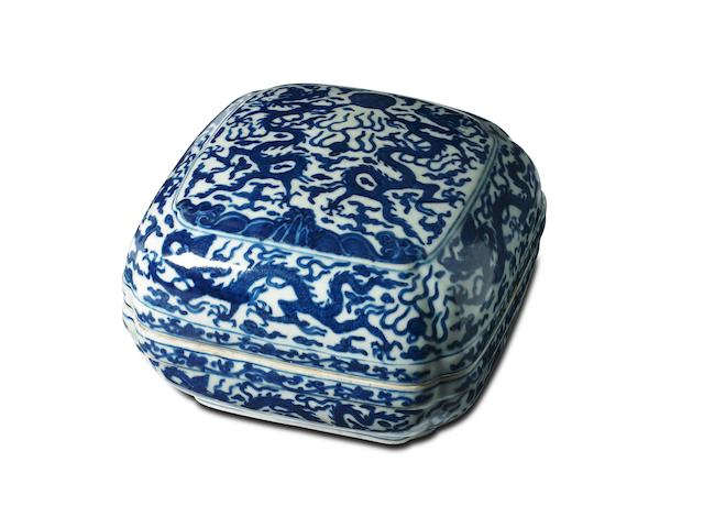 A Chinese blue-and-white 'dragon' box and cover Wanli six-character mark to base