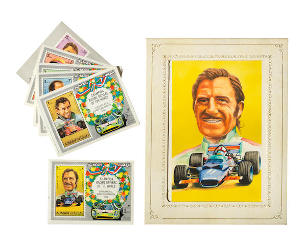 A watercolour portrait of Graham Hill, an original design used for an Ajman postage stamp, 1971,
