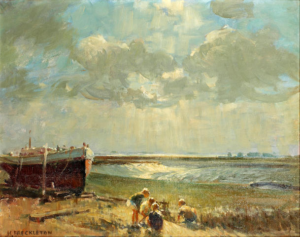 Harry Freckleton (British, 1890-1979) Children playing by the shore