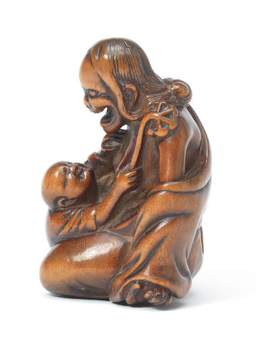 A boxwood netsuke of Yamauba 18th century