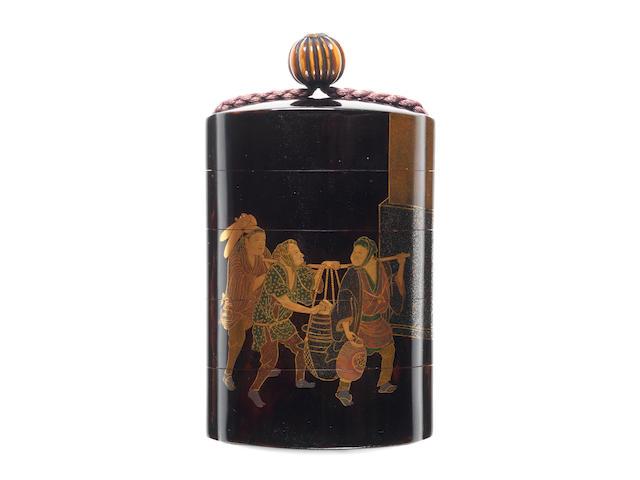 A black lacquer four-case inro  By Shiomi Masanari, 19th century