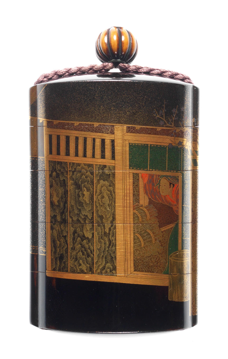 A black lacquer four-case inro  By Shiomi Masanari, 19th century