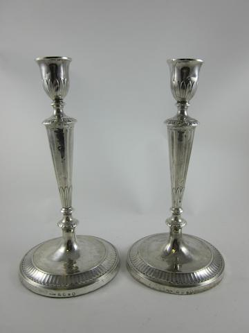 A George III silver pair of candlesticks by John Parsons & Co., Sheffield 1790 (2)