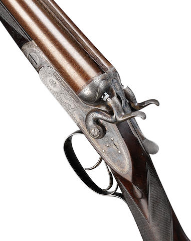 A fine and rare 12-bore sidelock hammer ejector gun by Boss & Co., No. 4181 In a brass-mounted oak and leather case with Boss & Co. trade-label