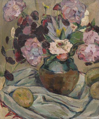 Irma Stern (South African, 1894-1966) Still life with hydrangeas and mangoes