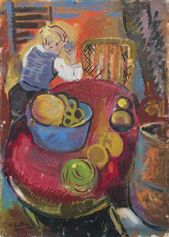 Walter Whall Battiss (South African, 1906-1982) 'Still life with child' unframed