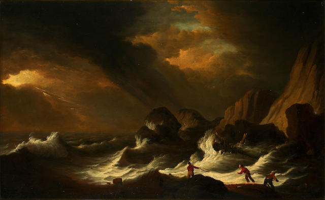 Follower of Nicholas Pocock (British, 1740-1821) Rescuing survivors from a wreck