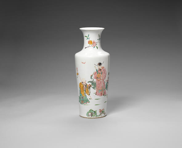 An elegant rose-verte 'Three Star Gods' vase Yongzheng