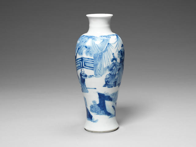 A blue and white slender baluster vase Chenghua six-character mark, Kangxi