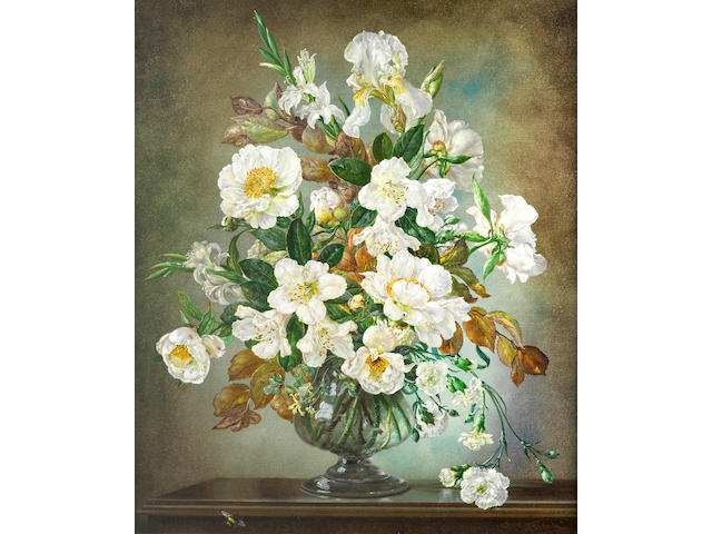 Cecil Kennedy (British, 1905-1997) Still life of white rhododendrons, paeonies and irises
