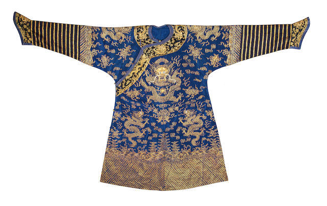 A blue-ground gauze dragon robe, jifu 19th century