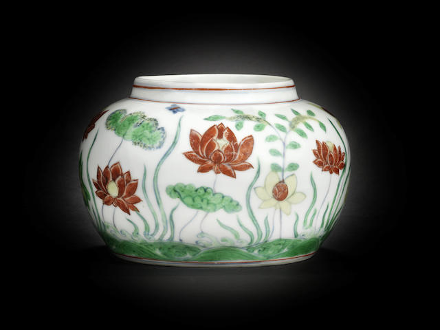 An extremely rare and important doucai 'lotus pond' jar Chenghua six-character mark and of the period