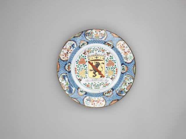 A large famille verte and underglaze blue 'Provinces' dish, Kangxi, circa 1720