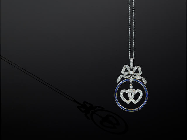 LaCloche Frères: An early 20th century sapphire and diamond set pendant