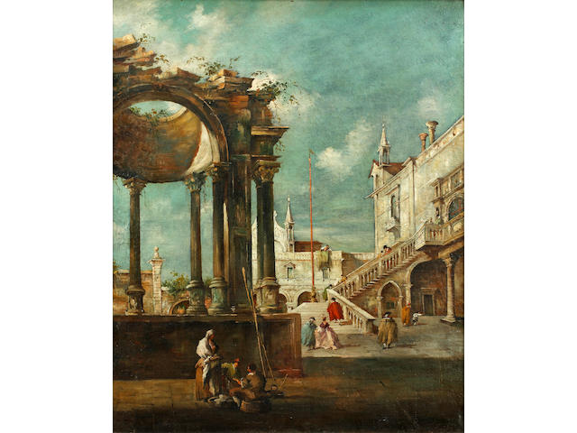 Manner of Giovanni Antonio Canaletto, 20th Century Elegant figures on steps in an Italian Courtyard with peasants chatting by a ruined Cupula - SENT TO OLD MASTERS DEPARTMENT IN LONDON FOR FURTHER RESEARCH