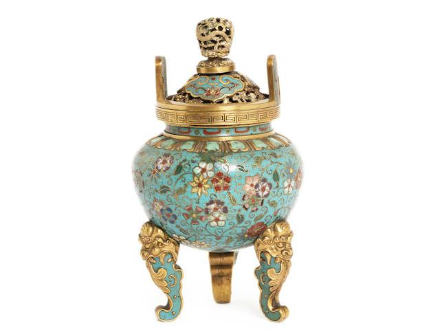 A cloisonné enamel tripod incense burner 19th century