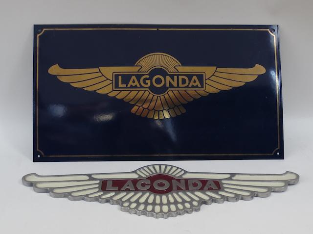 A Lagonda metal sign,