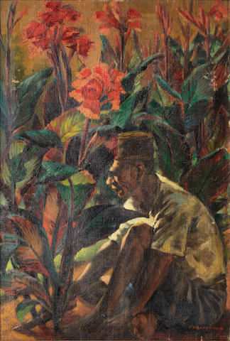 Vladimir Griegorovich Tretchikoff (South African, 1913-2006) Gardener against a background of red canna lilies