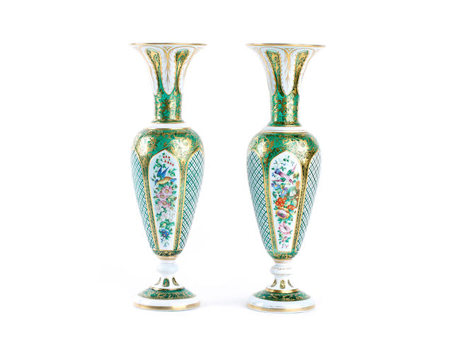 A pair of Bohemian overlay glass vases, late 19th century