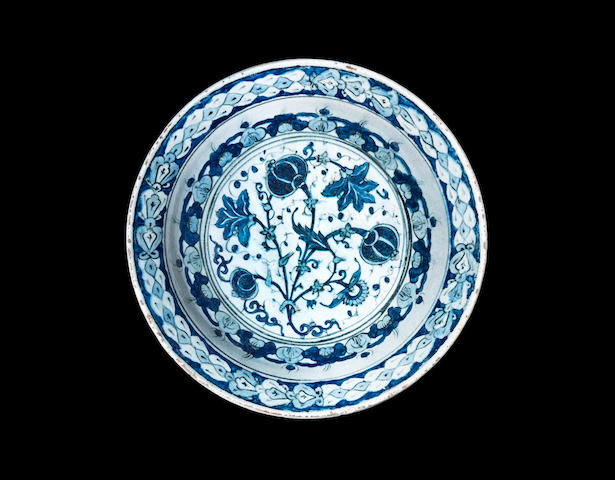 A rare blue and white Iznik pottery Dish Turkey, circa 1600