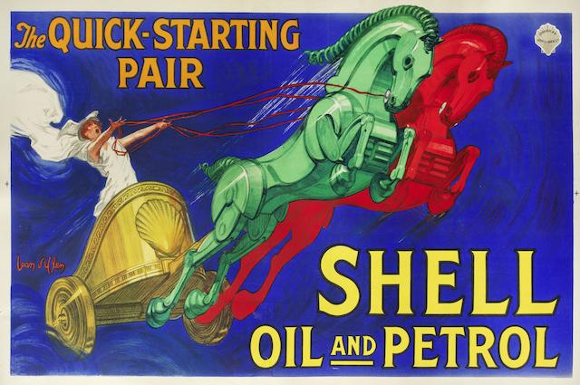 A 'Shell Oil and Petrol, The quick starting pair' advertising poster by Jean D'Ylen, 1927,
