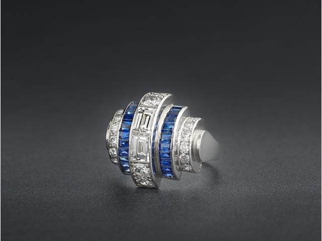 An art deco sapphire and diamond ring,