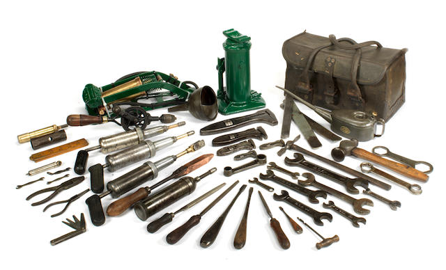 A set of tools suitable for a vintage Bentley, with toolbag,