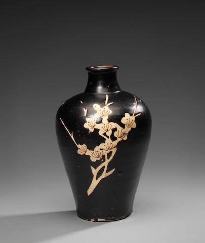 A fine and rare Jizhou resist-decorated 'double prunus' baluster vase, meiping  Southern Song Dynasty