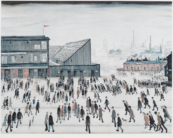 Laurence Stephen Lowry R.A. (British, 1887-1976) Going to the Match Offset lithograph printed in colours, 1972, on wove, signed in pencil, from the edition of 300, with the Fine Art Trade Guild blindstamp, with margins, 528 x 680mm (20 3/4 x 26 3/4in)(I)