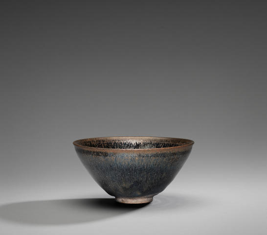 A fine and rare Imperially-inscribed Jianyao 'silver-hare's-fur' tea bowl Southern Song Dynasty