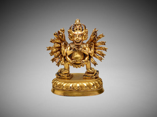 A Chinese gilded bronze figure of Yamantaka