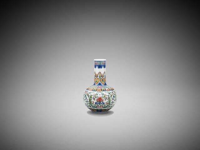 A Chinese doucai vase Qianlong six-character underglaze blue seal mark