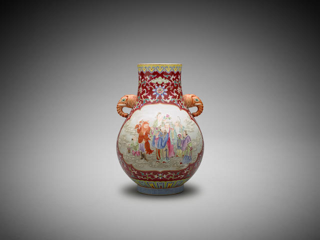 A Chinese famille-rose 'elephant'-handle vase, hu Jiaqing six-character iron-red seal mark