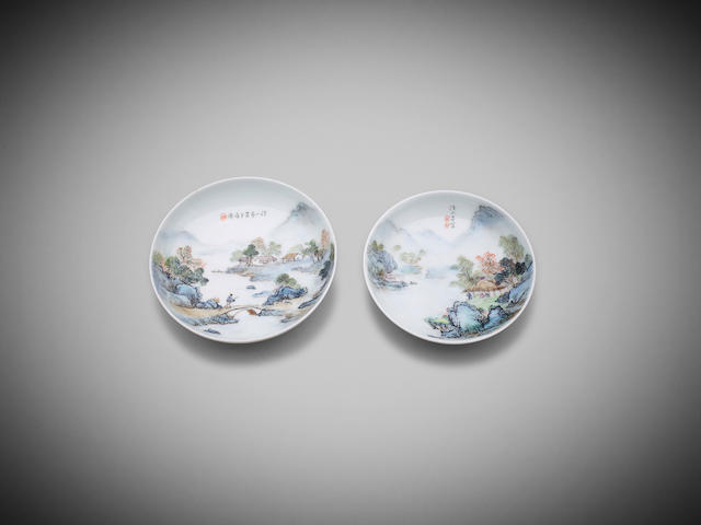 Two associated Chinese qianjiangcai dishes attributed to Wang Xiaoting Mid-20th century