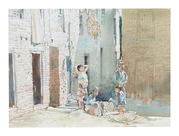 Ong Kim Seng (Singapore, b. 1945) Back Alleyway in Kathmandu, 1992