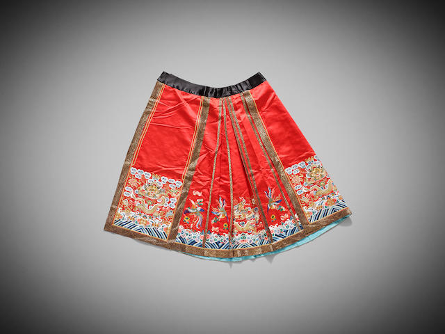 Two Chinese silk-embroidered 'apron' skirts Late Qing dynasty to Early Republic period