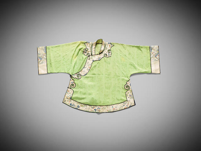 A Chinese apple-green-ground silk-embroidered jacket and an associated skirt Late Qing dynasty