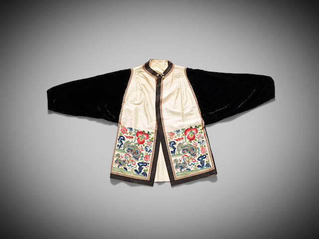 A Chinese beige-ground silk-embroidered and velvet jacket Late Qing dynasty