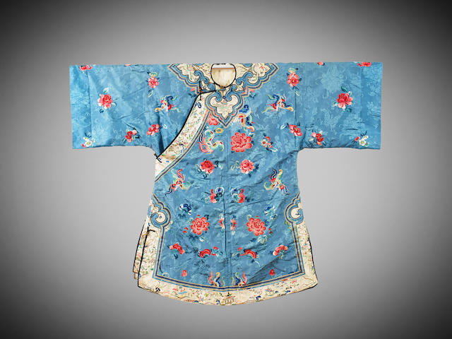 A Chinese light-blue-ground silk-embroidered and ermine's fur robe Late Qing dynasty