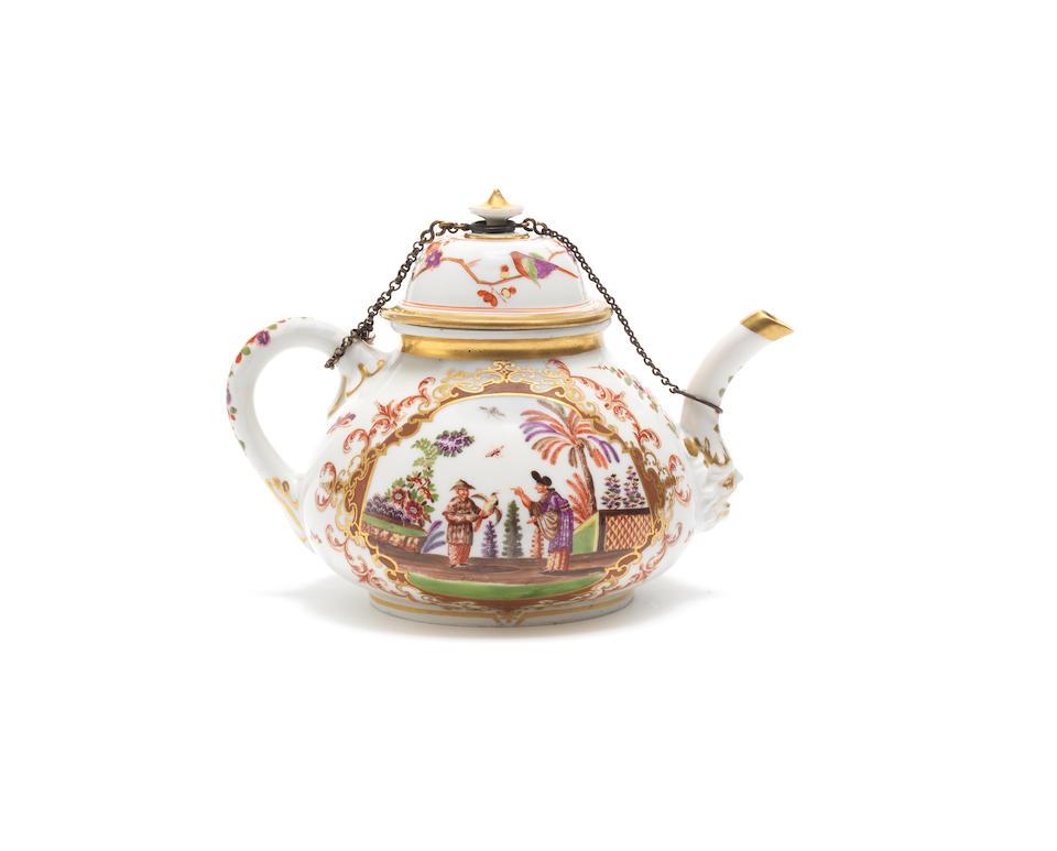 A Meissen KPM teapot and cover, circa 1725