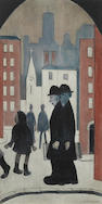 Laurence Stephen Lowry R.A. (British, 1887-1976) Two Brothers Offset lithograph printed in colours, on wove, signed in pencil, with the Fine Art Trade Guild blindstamp, with margins, 605 x 300mm (23 7/8 x 11 7/8in)(I)