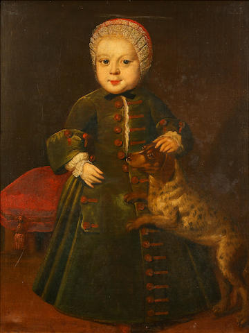 English Provincial School, 18th Century Portrait of a young girl, believed to be Ann Wells, standing with her pet dog