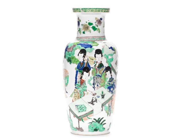 A fine and rare famille verte baluster vase  Kangxi